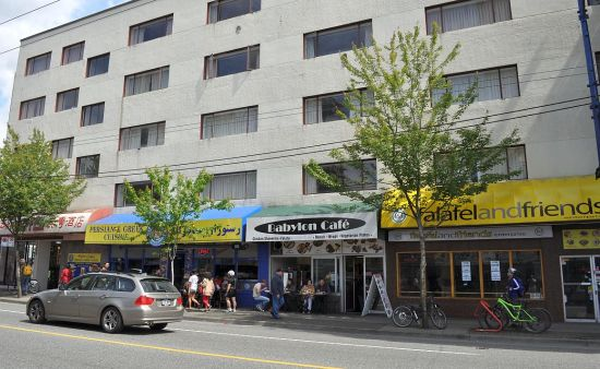 Hotel and cafes, Denman Street, Vancouver