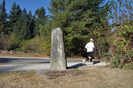A stone marking the site of the original Fort Langley, B.C., founded 1829