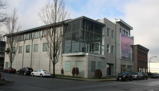 This three-story structure near False Creek in the City of Vancouver combines manufacturing, offices and underground parking. It is cited in a regional government report as a model for