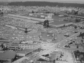 A Ford assembly plant and two other industrial properties occupied what is now the core of Metrotown; this photo is taken from a City of Burnaby presentation at the University of Calgary, 2004
