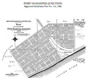 The plan for Port Hammond Junction subdivision, registered 1883.  Most of it was never realized.
