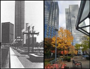 On the left, an urban model shown in the 1977 Metrotown plan, location not given; on the right, the Metrotowers, with a lightly used public space in the foreground