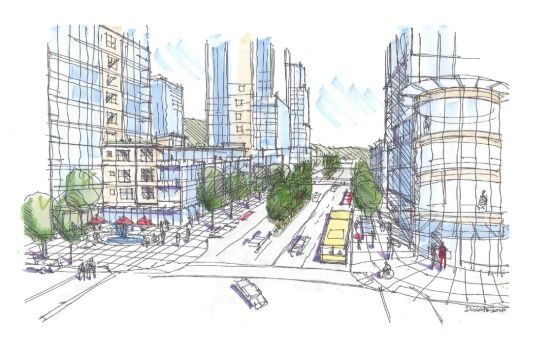 Concept for a high-density Austin Avenue, Coquitlam