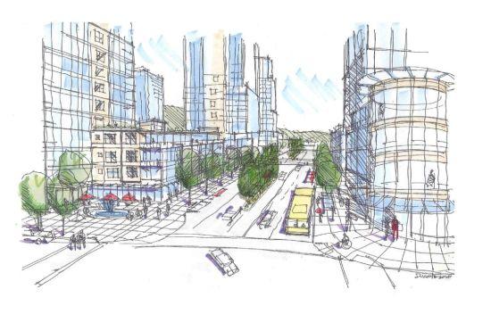 Concept for a high-density Austin Avenue, Coquitlam