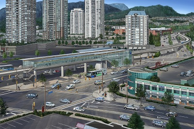 Project rendering of the Evergreen Line near Coquitlam Centre
