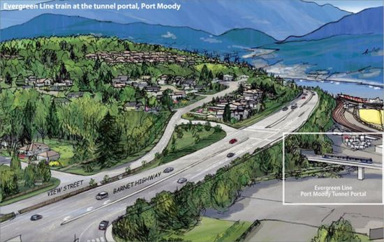 A provincial government depiction of the Evergreen Line emerging from under the Barnet Highway north of Clarke Road. It's the same area that's shown in the first drawing, minus the future property development that the City is imagining.