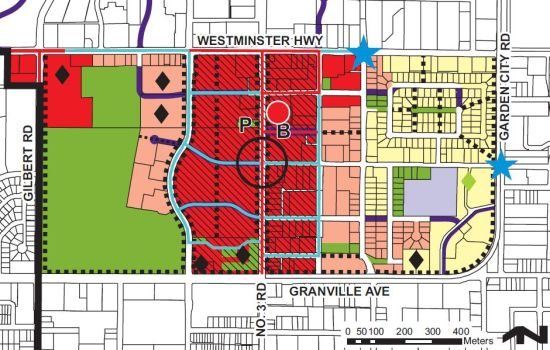Land use map for Brighouse Village from the 2009 Richmond Central Area plan. The colours, from right to left, signify townhomes, dense mixed use, even more dense mixed use, and park. The diamonds mark institutional uses.