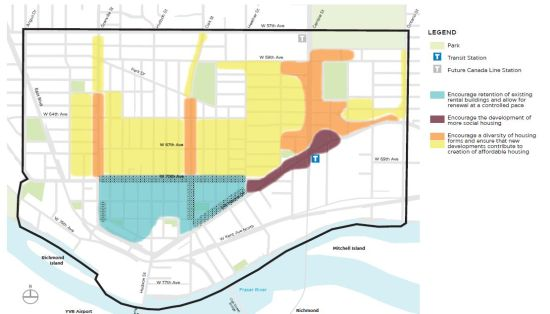 The City's 2013 concept for Marpole. The area in blue is the existing rental zone; the other shaded areas would be densified.