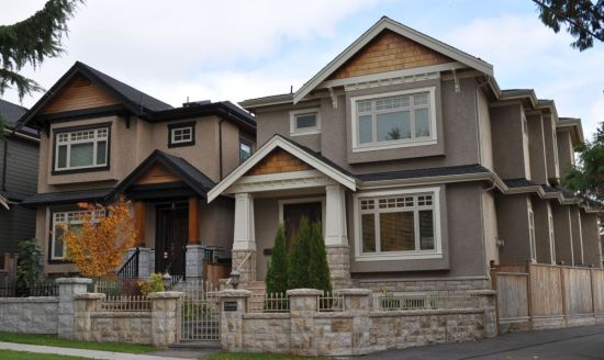 Recent single-family development in Marpole