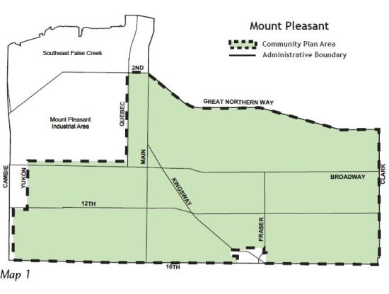 Mount Pleasant as defined in the 2010 community plan