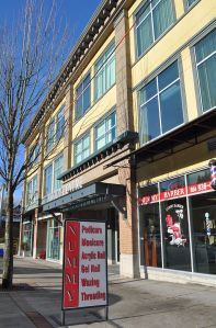 Recent retail-office development on St. John Street in the old downtown