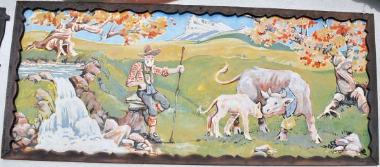 Mural, Canyon Alpine Restaurant, east of Boston Bar