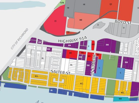 A detail from the new Queensborough plan. The yellow blocks are small-lot residential;