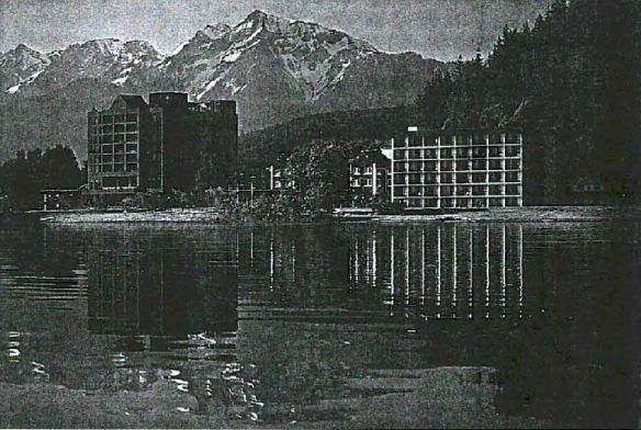 A rendering of the Harrison Hot Springs Hotel from the 1997 version of the village plan