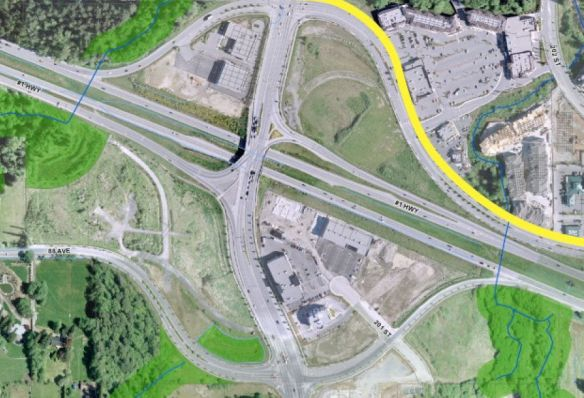 Highway 1/200 interchange, as shown in the 2013 Carvolth area plan