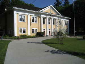 The Fort Langley Community Hall, often used as a backdrop in film and TV. Photo from the website of the Birth of B.C. Gallery, located just south on Glover Road.