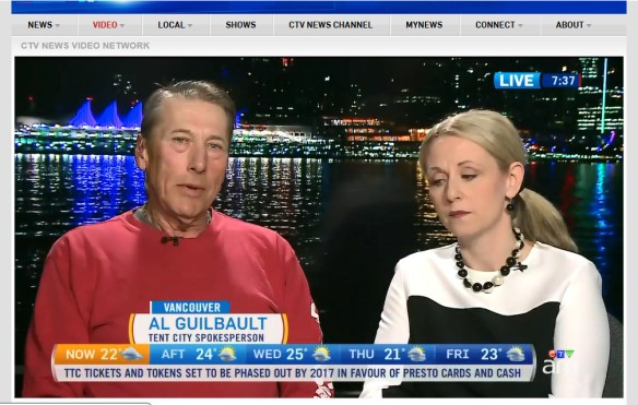 Maple Ridge mayor Nicole Read and homeless camp spokesman Al Guilbault