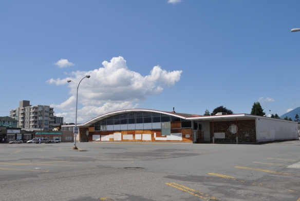 An abandoned Safeway property, c. 1960, next to the Chilliwack village core; the closest supermarket to the core is in a plaza a couple of blocks further out