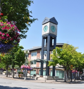 Five Corners, the central intersection of Chilliwack's downtown village