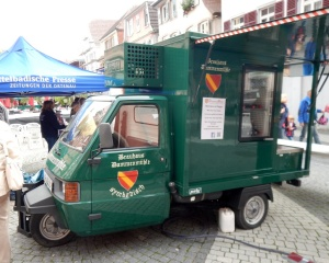 A three-wheeled delivery truck serving beer on tap at the Lahr autumn market