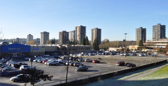 The Lougheed Town Centre mall with 1970s apartment towers