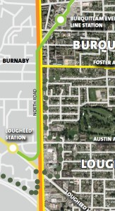 A detail showing part of Coquitlam's Lougheed-Burquitlam planning area, with footprints