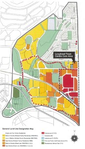 The Lougheed Town Centre, Burnaby side. The small black-bordered core is under intensive planning review. The semi-circle of dots represents our walking route.