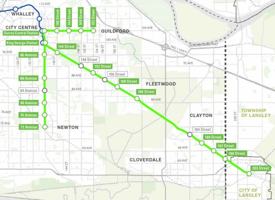 The proposed light rail transit network in Surrey, British Columbia showing potential station locations (City of Surrey website, January 2016)