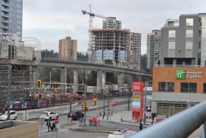 Residential tower construction viewed from the Metrotown shopping centre