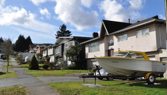The Skytrain corridor was formerly a rail line, and the Aberdeen Park property was covered with shops and warehouses. These homes, built on the slope above, might have sold for $50,000 in the late 1960s. Their market value today is closer to $1.5 million.