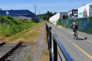 The Esquimalt & Nanaimo railway, formerly serving Vancouver Island's east coast, has been closed due to lack of interest. The right-of-way now accommodates a bike trail, interrupted (according to a regional authority map) by Esquimalt First Nation territory