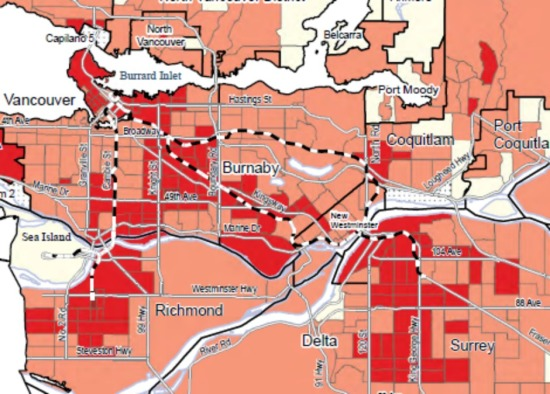 Distribution of the working poor in Vancouver and the inner suburbs, 2012. In most neighbourhoods the proportion of low-income earners in the working population is between 5 and 10 per cent; the heavier shading indicates 10 to 15 per cent.