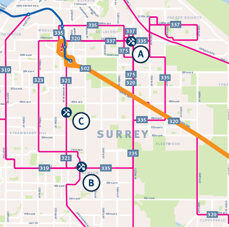 Detail from the September 2016 TransLink mayors' Phase One announcement. This shows promised bus service improvements in Surrey including immediate rapid bus service on Fraser Highway.