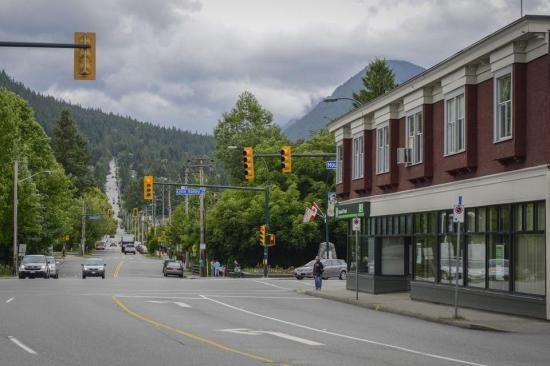 Intersection of Lynn Valley Road and Mountain Highway. The