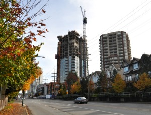 Tower construction in Burnaby below Burquitlam Station, October 2016