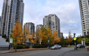 Just west of Coquitlam City Hall and the Lafarge Lake station