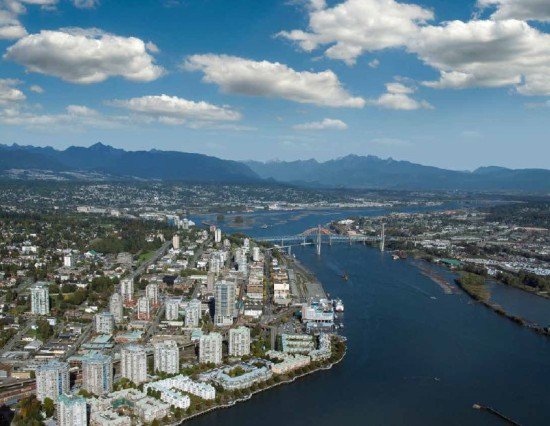 Aerial view of New Westminster, from the Transportation Plan