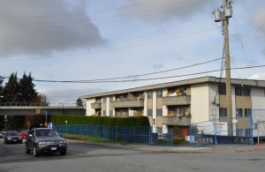Demolition of affordable rental housing on Foster Ave., Coquitlam, near Burquitlam station