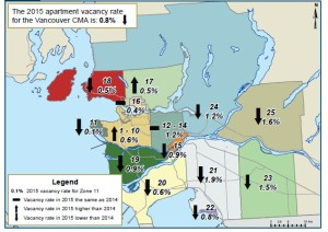 Vacancy rates in Metro Vancouver, fall 2015. This map was not provided