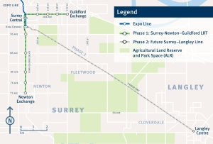 Revised Surrey rapid transit plan, with the Fraser Highway leg shown as