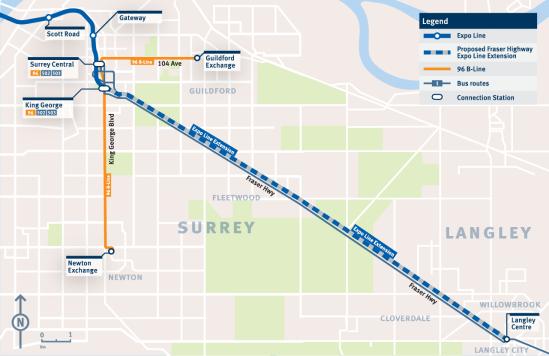 Surrey-Langley SkyTrain route fraseropolis